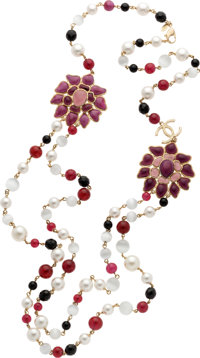 Chanel Fall 2007 Glass Pearl & Pink Bead Necklace with Gripoix Flowers