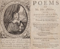 Books:Literature Pre-1900, John Milton. Poems of Mr. John Milton, Both English andLatin, Compos'd at several times. London: Ruth Raworthf...