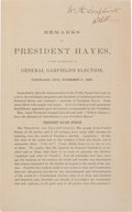 Books:Americana & American History, [Rutherford B. Hayes]. Remarks of President Hayes, at theCelebration of General Garfield's Election, Cleveland, Ohio,N...