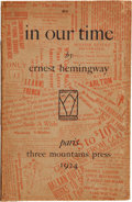 Books:Literature 1900-up, Ernest Hemingway. In Our Time. Paris: Printed at the ThreeMountains Press and for sale at Shakespeare & Company...