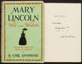 Books:Biography & Memoir, Carl Sandburg. Mary Lincoln, Wife and Widow. Harcourt,Brace, [1932]. Inscribed and signed first edition. ...