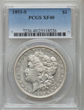 Morgan Dollars: , 1893-S $1 XF40 PCGS. PCGS Population (436/744). NGC Census:(182/469). Mintage: 100,000. Numismedia Wsl. Price for problem ...