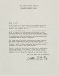 Autographs:Celebrities, Coretta Scott King Typed Letter Signed with Related Ephemera....