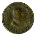 """Political:Tokens & Medals, 1834 Jackson """"Hard Times"""" Brass Token. Measures 28mm and is listed as Sullivan-Dewitt CE 1834-29. This token shows the proge..."""