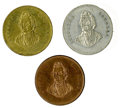 """Political:Tokens & Medals, Three examples of the 1860 Stephen Douglas """"Champion of Popular Sovereignty"""" Medalet in Brass, Copper, and White Metal. The ... (Total: 3 )"""