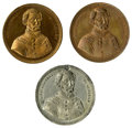 """Political:Tokens & Medals, Three Examples of the 1864 George McClellan """"One Flag and One Union Now and Forever"""" Medalet in Brass, Copper, and White Metal... (Total: 3 )"""