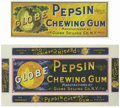 Advertising:Paper Items, Pair of Globe Pepsin Chewing Gum Box Labels. These box labelsadvertise Globe Pepsin Chewing Gum manufactured by Globe Selli...(Total: 2 items)