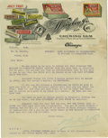 Advertising:Paper Items, 1906 Wrigley's Chewing Gum Letterhead. This lot features a letterwritten at the Wm. Wrigley Jr. and Co. office warehouse on...