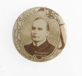 """Political:Pinback Buttons (1896-present), Unusually Designed McKinley Picture Pin in a 1 1/4"""" size made by a Sioux City, Ia, photographer and badge maker. Superbly do..."""