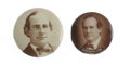 """Political:Pinback Buttons (1896-present), Bold William Jennings Bryan Sepia Pair Offered here are two Bryan picture pins: one 1 3/4"""" dating from 1900 and the second f..."""