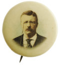 Political:Pinback Buttons (1896-present), 1904 Theodore Roosevelt 7/8th Celluloid Pinback. Natural color picture pin of Theodore Roosevelt issued in 1904. A decent a...