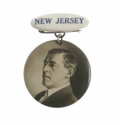 Political:Ribbons & Badges, 1912 Woodrow Wilson New Jersey Badge. This unique badge features a portrait of Wilson on a celluloid suspended from a pinbac...