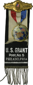 Political:Ribbons & Badges, Grand Army of the Republic U.S. Grant Badge. The Grand Army of the Republic was a veterans group formed after the Civil War ...