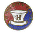 "Political:Ribbons & Badges, Red, White, and Blue Harrison Campaign Stud. Stud depicts Harrison's characteristic stovepipe hat with the Latin words ""In h..."