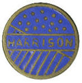 """Political:Ribbons & Badges, Harrison Campaign Stud. This campaign stud depicts the name Harrison on a blue enamel """"stars and stripes"""" background. It is ..."""