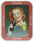 Advertising:Soda Items, 1950s Girl with Bottle Coca-Cola Tray. This lot features a tray depicting a red-haired model drinking a bottle of Coca-Cola....