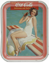 1939 Coca-Cola Serving Tray Girl on Spring Board. Classic 1939 look, showing a girl, in a bathing suit, drinking a bottl...