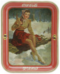 "Advertising:Soda Items, 1941 Skater Girl Coca-Cola Tray made by the American Art Works in Coshocton, Ohio. The 10.5"" x 13.25"" serving tray pictures ..."