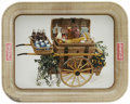 Advertising:Soda Items, 1958 Coca-Cola Serving Tray. This handsomely lithographed tray features a small wagon loaded with snacks, fruits, and of cou...