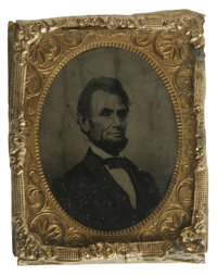 Abraham Lincoln Tintype (From Engraving). This tintype features Abraham Lincoln's likeness as it appeared in an engravin...