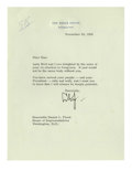 "Autographs:U.S. Presidents, Deceptively Scarce President Lyndon Johnson Typed Letter Signed. This letter is boldly signed, ""LBJ,"" on 6 1/2"" x 8 3/4"" Whi..."