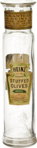 "Advertising:Display Jars, Impressive ""Heinz Stuffed Olives"" Four Label Glass Display Jar.Standing 8.725"" tall, this jar has four labels on it; it is ..."