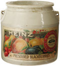 "Advertising:Display Jars, Small Heinz ""Preserved Blackberries"" Crock. Pictures a colorfulgrouping of fruit and the Heinz logo. Slightly faded, the lo..."