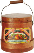 "Advertising:Display Jars, Early Heinz ""Howard Standard"" Apple Jelly Wooden Bucket. This bucket retains its original handle, lid and paper label. The p..."