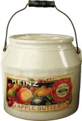 Advertising:Display Jars, H. J. Heinz Apple Butter Original Label Crock With Bail and Lid. The bold graphics and color make this labeled crock an eye ...