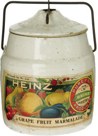 Tough Size Heinz Label Marmalade Crock. This has one of the most graphic labels presented in this sale. Heinz has been t...