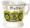 "Antiques:Decorative Americana, Harley Davidson Occupational Shaving Mug This mug pictures an earlyHarley Davidson motorcycle with the owner's name, ""N. Be..."