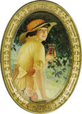 Advertising:Soda Items, 1916 Coca-Cola Elaine Tip Tray. The young woman smiling here is certainly one of the 20th century's more enduring advertisin...