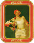 Advertising:Soda Items, 1930 Coca-Cola Advertising Tray featuring a girl in a bathing capand suit. The dark green background is accentuated by the ...