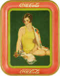 Advertising:Soda Items, 1939 Girl in Swim Suit Coca-Cola Tray. This Coca-Cola tray, produced to advertise fountain sales, pictures a girl in a yello...