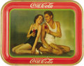 Advertising:Soda Items, Drink Coca-Cola Original Johnny Weissmuller Tray Dated 1934 andfeaturing the stars Maureen O'Sullivan and Johnny Weissmulle...