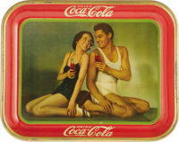 Drink Coca-Cola Original Johnny Weissmuller Tray Dated 1934 and featuring the stars Maureen O'Sullivan and Johnny Weissm...