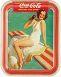 Advertising:Soda Items, 1939 Coca-Cola Serving Tray Girl on Spring Board. Classic 1939look, showing a girl, in a bathing suit, drinking a bottle of...