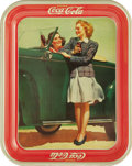 Advertising:Soda Items, 1942 Coca-Cola Tray Girls by the Car is bold in its classic '40sdesign. The tray just screams classic cars and Coca-Cola. A...