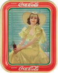 "Advertising:Soda Items, American Art Works 1938 Coca-Cola Tray. Coca-Cola pictured thismodel in what was referred to as the ""afternoon dress"" durin..."