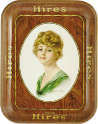 Haskell Coffin Hires Girl Advertising Tray. Coffin became known for his illustrations picturing the American Beauty, Cof...