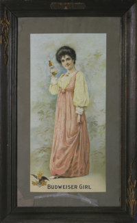 """Framed """"Budweiser Girl"""" 1904 Beer Advertisement Modern men are not the only ones who love the Bud girls; even..."""