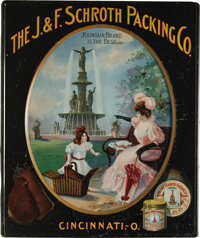 Beautiful Meek Co. Lithograph Advertising Sign Produced for the J. & F. Schroth Packing Co. Its detailed scene pictu...