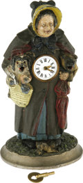 Antiques:Clocks & Watches, Double Dog Animated Figural Clock by Meyers Circa 1870. Offeredhere is an interesting diecast painted metal illustrated clo...