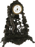 "Antiques:Clocks & Watches, French ""Bicyclist"" Paris A Brest Novelty Clock Circa 1890. Up for bids here is a handsome antique spelter clock featuring a ..."