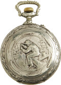 """Antiques:Clocks & Watches, """"Fisherman"""" Engraved Large Open Face Pocket Watch Circa 1900. Theback of this impressive 2.75"""" diameter watch contains a sc..."""