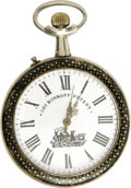 "Antiques:Clocks & Watches, Roskopf ""Bicyclists"" Engraved Large Open Face Pocket Watch Circa 1900. The 1890s were called the ""Golden Age of Bicycles"" an..."