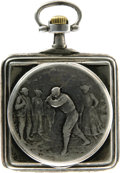 "Antiques:Clocks & Watches, Omega ""Golfers"" Engraved Square Case Open Face Pocket Watch Circa1900. The square (1.875"") shape of this fine watch allows ..."