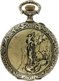 """Antiques:Clocks & Watches, Roskopf """"Mountain Climbing"""" Engraved Goldtone Case Pocket Watch Circa 1900. This is a gorgeous 2.125"""" diameter watch with a ..."""