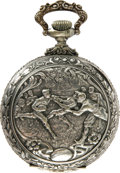 """Antiques:Clocks & Watches, """"Football"""" Engraved Open Face Pocket Watch Circa 1900. The footballscene on the back of this 2"""" diameter watch is very simi..."""