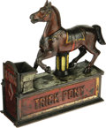 Antiques:Toys, Trick Pony Cast Iron Bank made by the Shepard Hardware Co. ofBuffalo, New York and designed by Julius Mueller. The pony is ...
